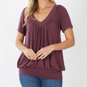 Eggplant Soft V-Neck Short Sleeve Shirt